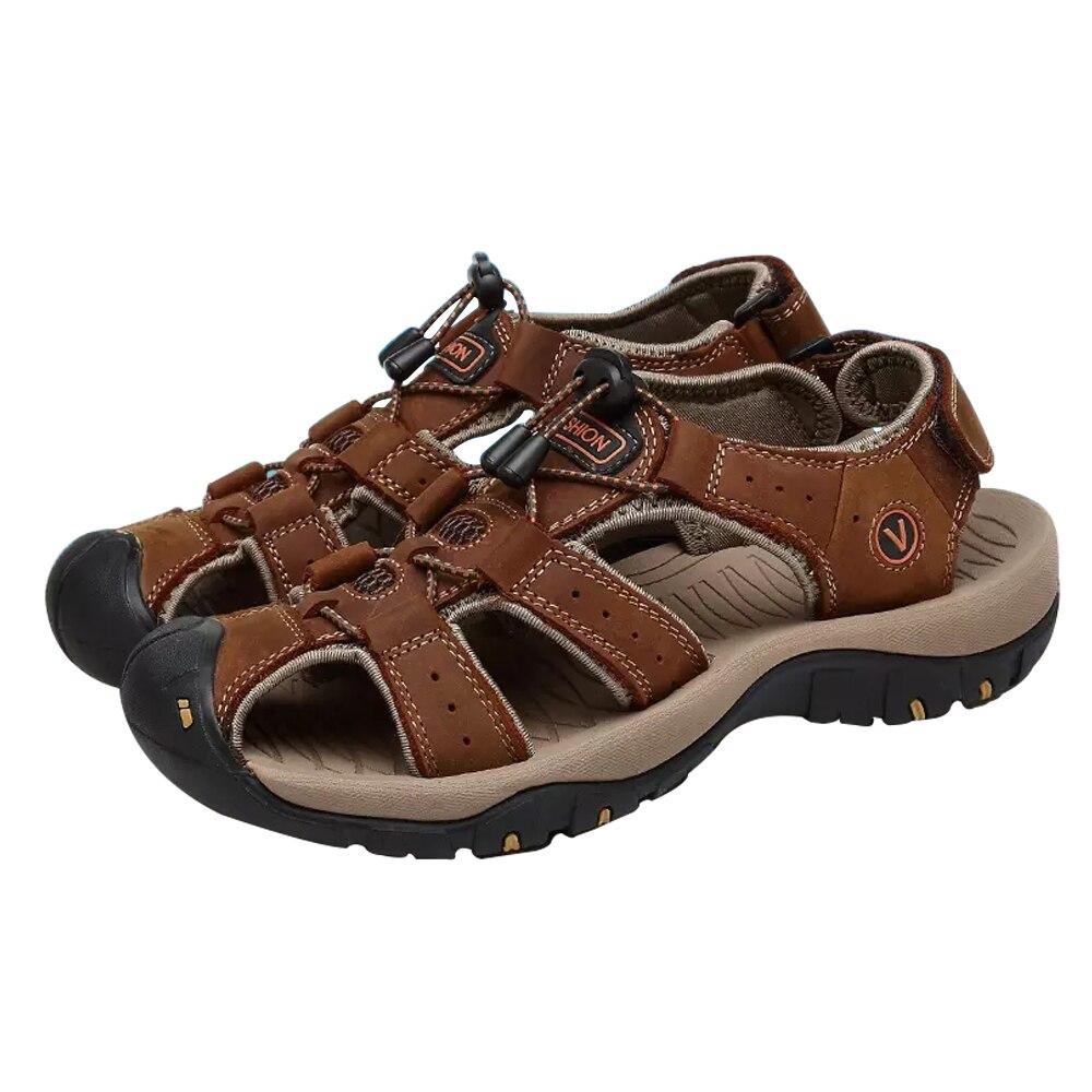 Mens Sandals Summer Leather Men Shoes Soft Non-slip Comfortable Outdoor Fashion Big Size 48