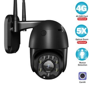 Camhi IP Camera 3G 4G SIM Card 1080P CCTV Camera Outdoor Smart Security Camera WiFi Monitor PTZ Dome Camera Color Night Vision