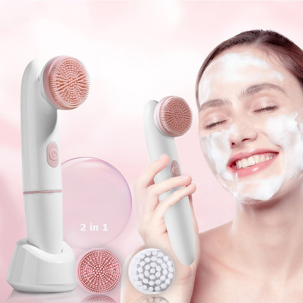 Electric Face Cleansing Brush For Facial Skin Care Wash Sonic Vibration Massage Tool 2 in 1 Acne Pore Blackhead Silicone Cleaner недорого