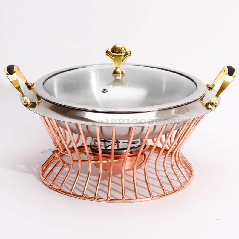 20 سنتيمتر الفولاذ المقاوم للصدأ Hotpot مجموعة صغيرة Hotpot وعاء حامل غطاء من الزجاج المعالج الذهب الفضة الغضب طبق بوفيه عموم صينية طعام أكثر دفئا