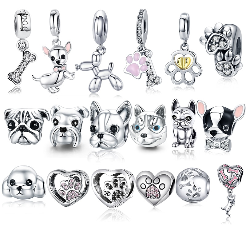 925 Sterling Silver A Dog 's Story Poodle Puppy French Bulldog Beads Charm Fit BISAER Charms Silver 925 Original Bracelet