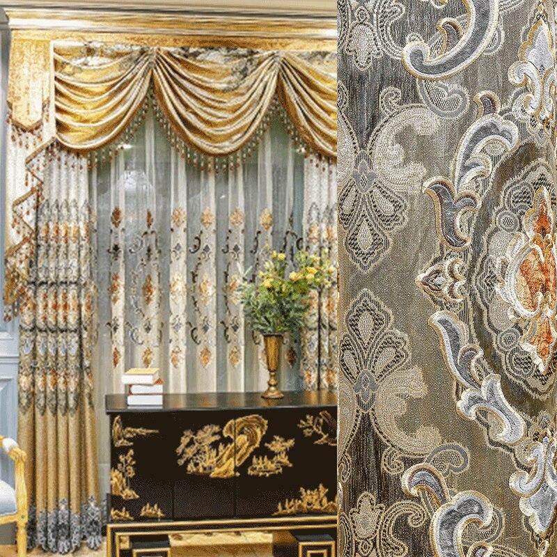 Panel bordado clásico europeo soluble en agua para cortinas oscuras para sala...