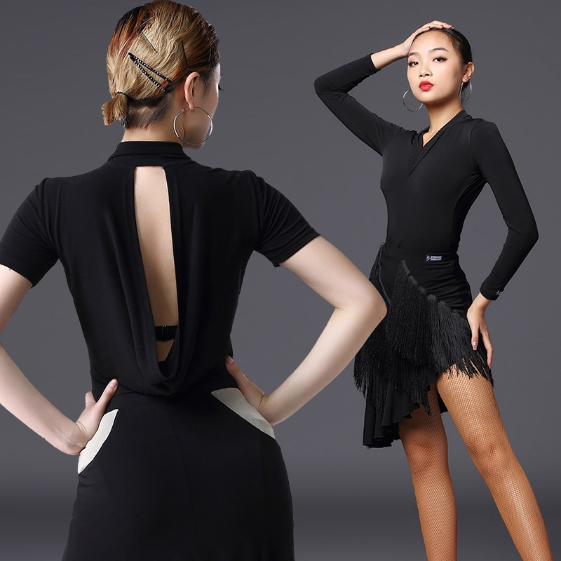 Nuevos Tops de baile latino para mujeres, Tops de manga larga sin espalda, ropa de actuación para adultos, vestidos de competición de baile latino DQS3562