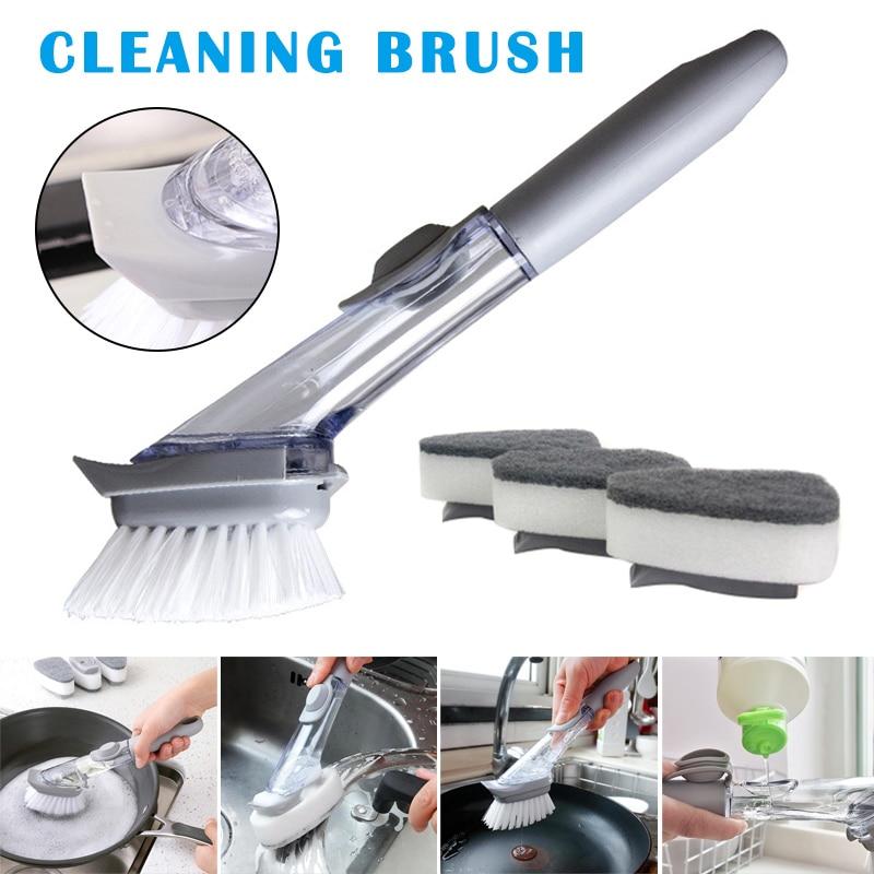 Kitchen Dish Scrubber Soap Automatic Dispenser Dishwashing Scrubber Sink Brush with Soap Handle DAG-ship