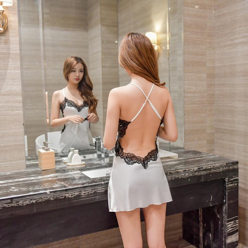 Womens nightgown sexy roupa de noite lingerie erótica sleepwear vestido de noite cetim dormir em casa nightwear seda nightie 2020