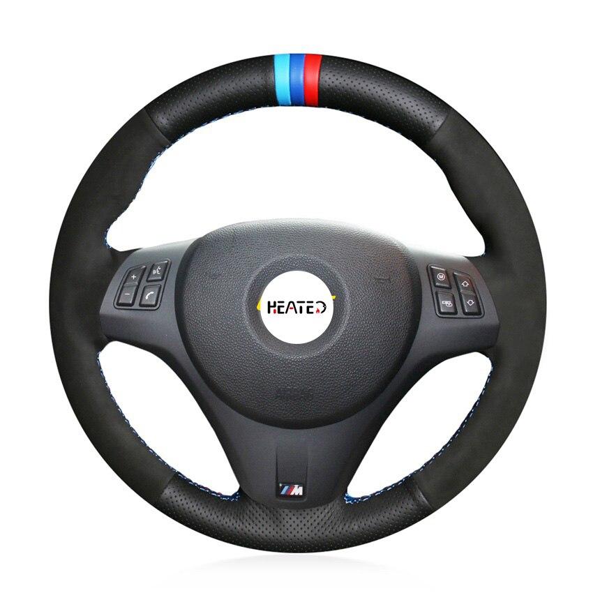 Trança na cobertura do volante para bmw m sport m3 e90 e91 e92 e93 e87 e81 e82 e88 caso volante acessórios do carro
