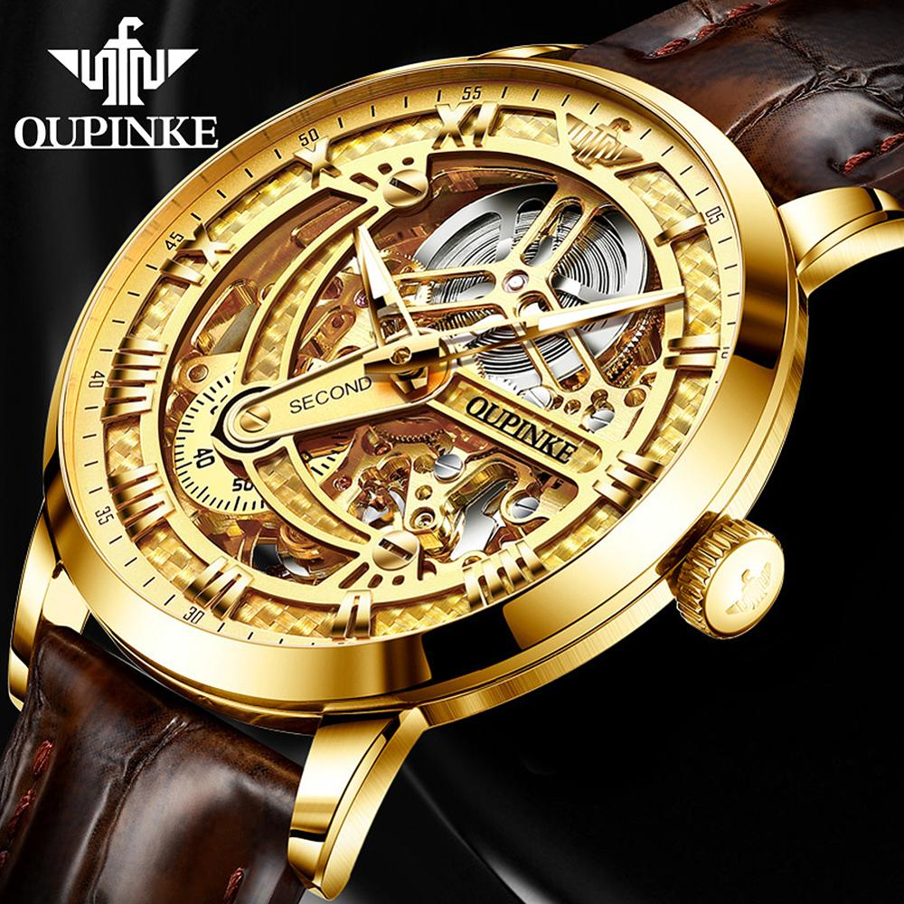 OUPINKE Leather Mechanical Watch Men Top Brand Luxury Skeleton Automatic Watches For Men Gold Sport Wristwatch Relogio Masculino