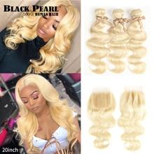 Black Pearl 613 Paquets blonds avec la fermeture ondulée de corps malaisienne Remy cheveux humains armure  Blond miel 613 paquet avec la fermeture