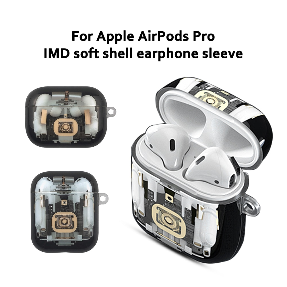 Para Airpods 1 2 Pro funda IMD estructura mecánica suave patrón caja de carga cubierta para Air Pods 1 2 Pro funda protectora