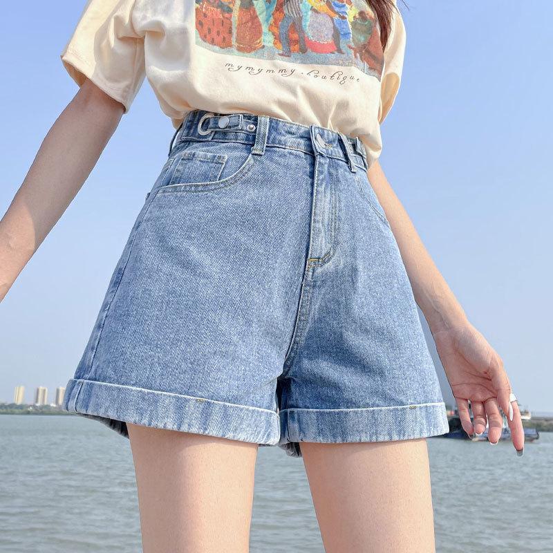 Women's Summer Breeches Wide Shorts Denim High Waist Casual Shorts Fashion Wide Plus Size Denim Shorts Female Jeans Mom Korean