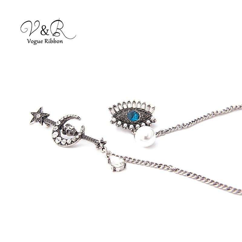 Diablo ojo esqueleto imitación Peal broche Pin con cristal azul blanco cristal negro ojo/luna estrella broche joyería accesorios 2019