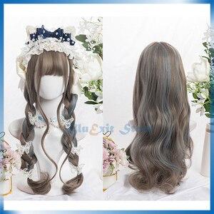 Brown Mixed Blue Lolita Wig Harajuku Sakura Sweet 70cm Long Wavy Curly Synthetic Hair Fringe Bangs Adult Girls Hair