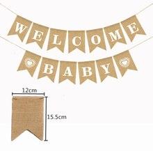 Banderole de fête prénatale   Drapeaux en toile de jute, Vintage banderole de réception-cadeau pour bébé, banderole décorative rustique de mariage, 5BB5797