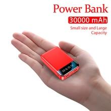 Portable Mini 30000mAh Power Bank with LED Light LCD Digital Display Fast Charging External Battery