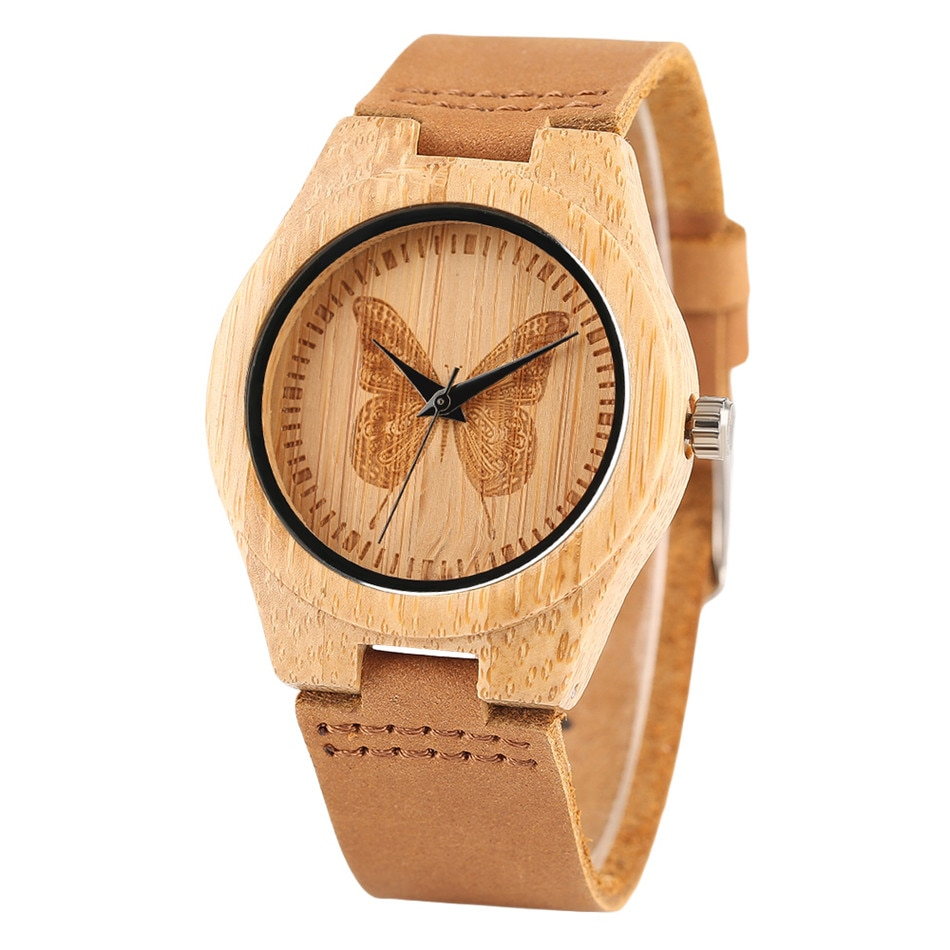 REDFIRE Etching Butterfly Display Bamboo Wood Ladies Genuine Leather Wristwatch Quartz Movement Trendy Women Wooden Watches enlarge