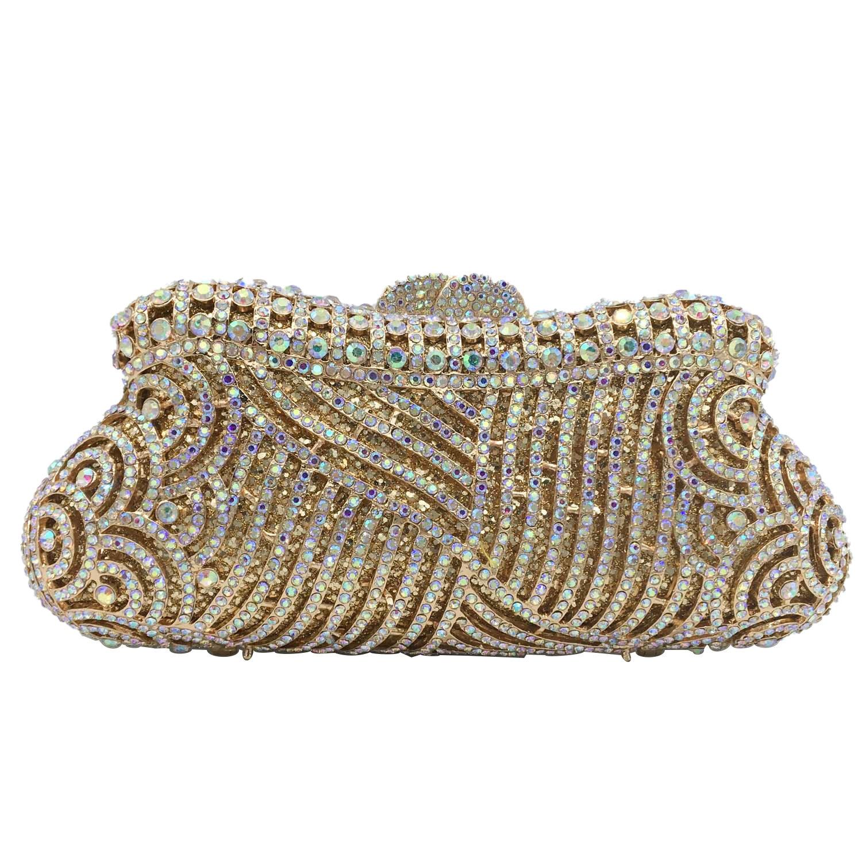 Boutique De FGG-حقيبة يد أنيقة مخرمة من الكريستال للنساء ، حقيبة سهرة ، حقيبة زفاف ، حقيبة يد ماسية صغيرة لحفلات الكوكتيل