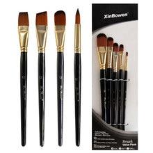 5pcs/Set Nylon Hair brush Brush Set Round Flat Brush Acrylic DIY Watercolor Pen Oil Paint  for Artists Painters Beginners