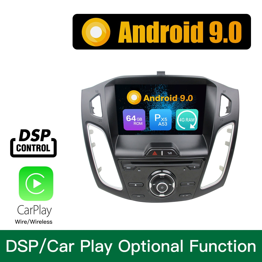 Reproductor Multimedia para coche Android 9,0 Octa Core, 4GB de RAM, 64GB de ROM, navegación GPS con DVD, estéreo para FORD Focus 2012 2013 2014