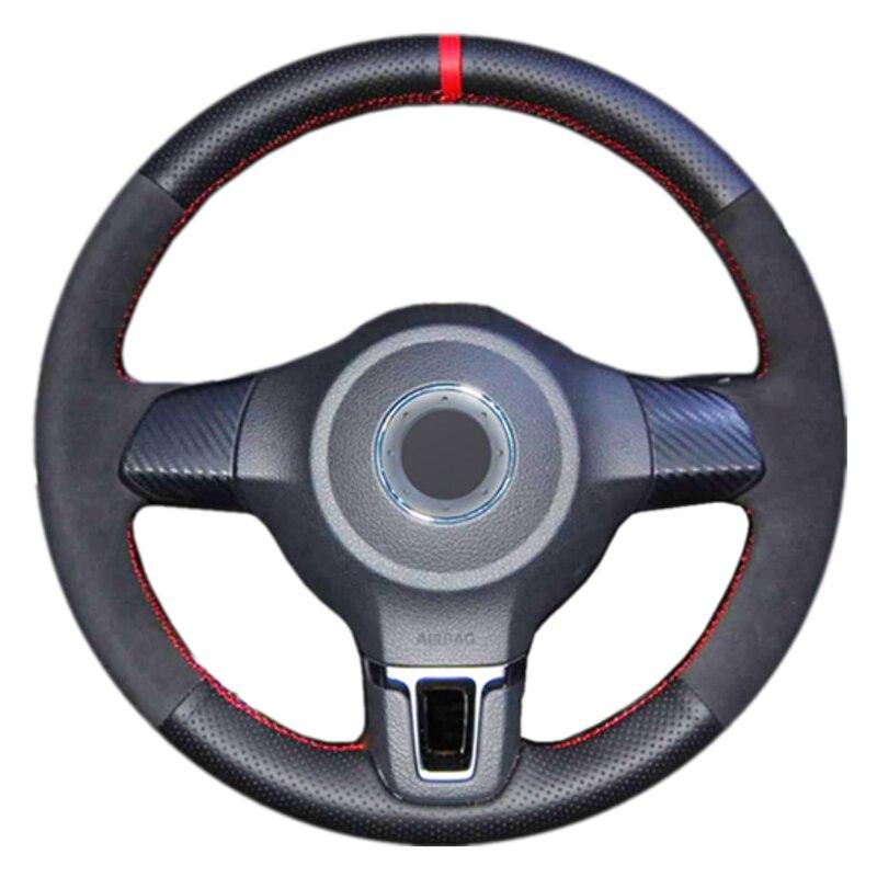 Черная замшевая накладка на руль автомобиля для Volkswagen Golf 6 Mk6 VW Polo Sagitar Bora Santana Jetta MK5