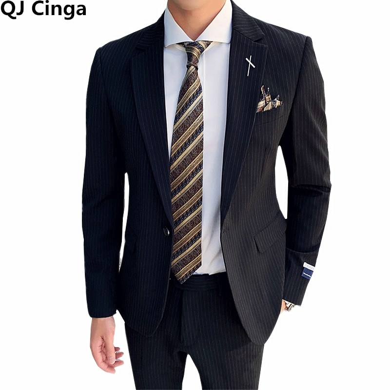 الربيع/الخريف جديد أسود مخطط اللباس 2 قطعة مجموعة الرجال البحرية الأزرق رجل الأعمال/بدلة الزفاف (سترة + السراويل) حجم S-XXXL