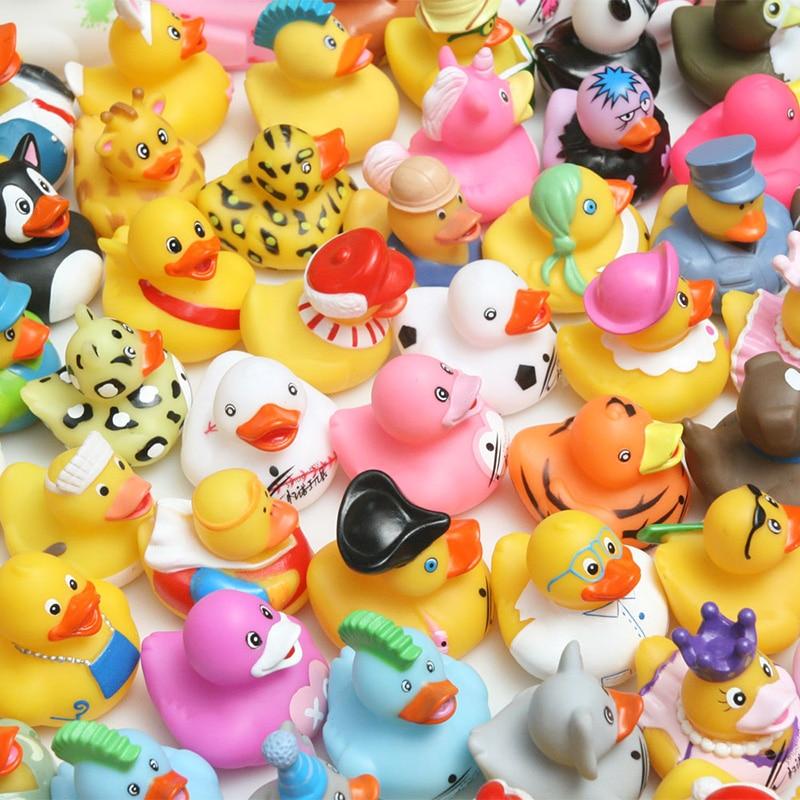 ESALINK 100Pcs Baby BathToys Bath Different Duck Mini Combination Style Rubber Ducks