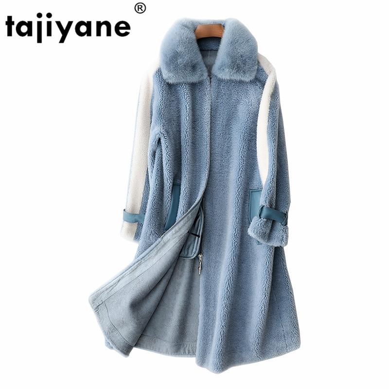 الكورية معطف الفرو الحقيقي الخريف الشتاء سترة ملابس حريمي 2021 Vintage فرو منك طوق الصوف معطف الجلد المدبوغ بطانة معاطف طويلة ZT1406