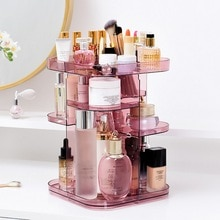 Christmas Cosmetic Storage Boxes 360 Degrees Square Shape Rotating Cosmetics Storage Rack Skincare Lipstick Storage Box