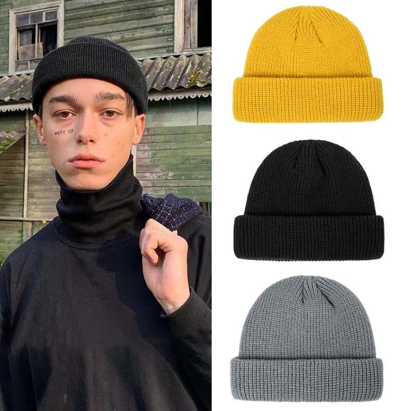 Sombrero de invierno para hombre y mujer... gorros de punto de Color...