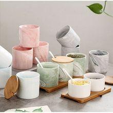 Tarro de especias de cerámica de tres piezas con diseño de mármol, tarro de especias, caja de condimentos creativa, juego de utensilios de cocina, recipiente para especias