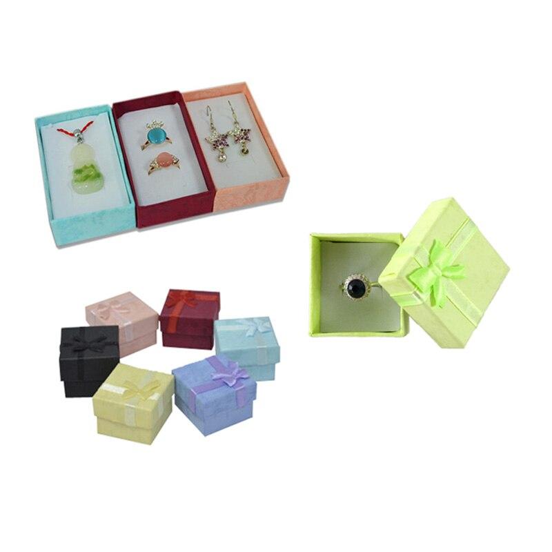 Caja de anillo de 19 colores, caja de embalaje para collar, pendiente, bonita cinta de papel, caja de anillo de boda, organizador de joyería, caja de regalo de almacenamiento, Expositor