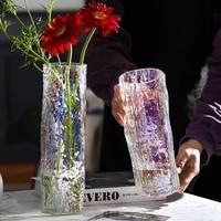 fashion straight glass vase home decoration accessories modern vase creative transparent flower pot hydroponic living room decor