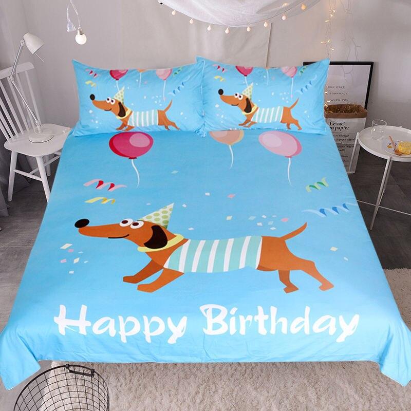 Juego de ropa de cama impresa 3D Dachshund de cumpleaños para niños de dibujos animados