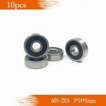 10pcs/Lot 605-2RS 605 RS 5x14x5mm ABEC-5 Rubber Sealed Ball Bearing Miniature Bearing Deep Groove Ball Bearing