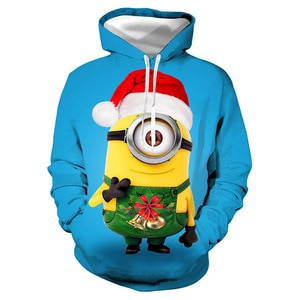 Unisex Anime Cartoon Christmas 3D Digital Print Loose Hooded Sweater Pullover Women Men Xmas New Year Baseball Sweatshirt Hoodie