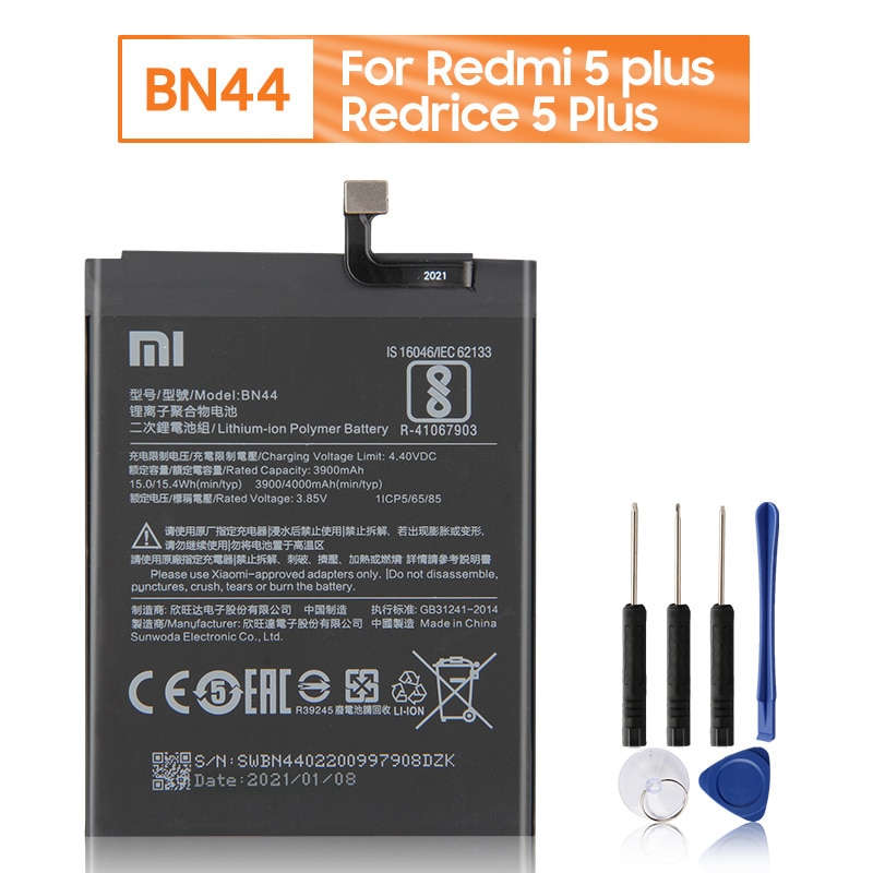 Xiao Mi BN44 Battery For Xiaomi Redmi 5 plus 5.99 Redrice 5 Plus BN44 Replacement Phone Battery 4000mAh + Tools недорого