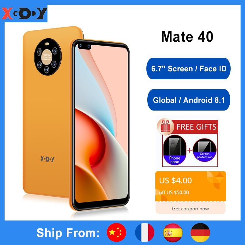 Global XGODY Celular Smartphone Android 8.1 Face Unlock 6.7 Inch Big Screen 1GB 8GB Quad Core 5MP 2800mAh Mate 40 Mobile Phone