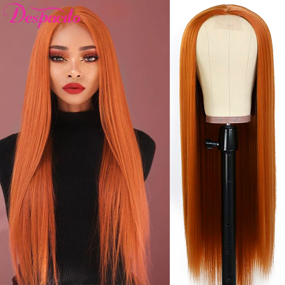 Straight Lace Front Wigs For Women Ginger Orange T Part Wig And 4x4 Lace Closure Wigs With Baby Hair Despacito Brazilian Hair