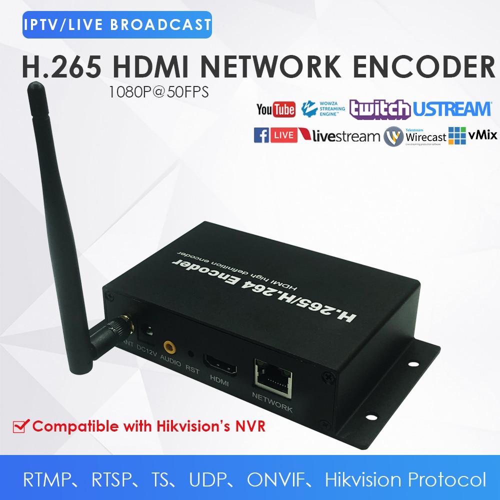 WiFi inalámbrico H.265 HDMI red codificador de vídeo para IPTV juego de Video Streaming a YouTube Facebook Ustream W/DDNS RTMP TS UDP