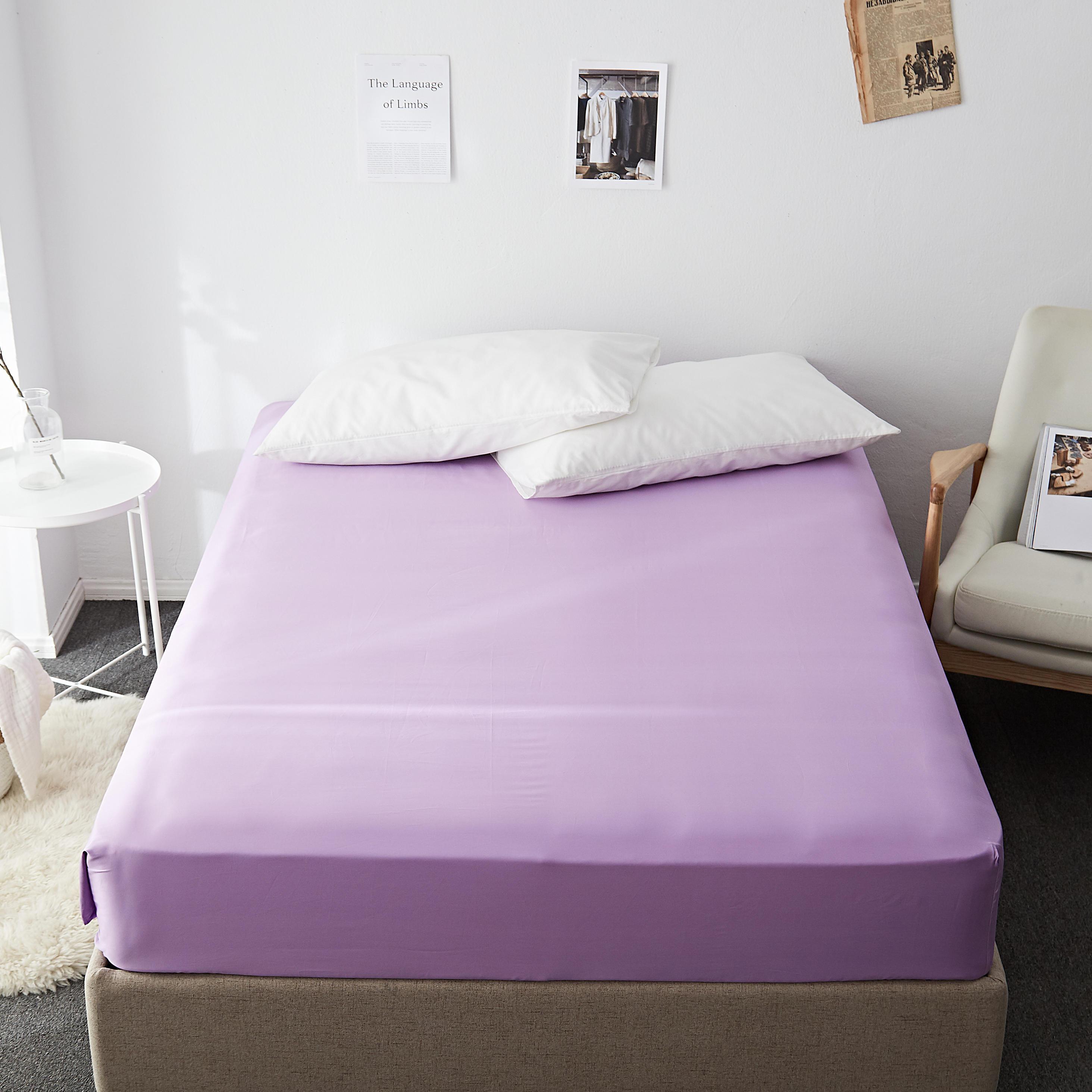 ملاءة سرير من القطن الناعم والمخمل ، طويلة التيلة 60 ثانية ، مقاومة للتجاعيد ، بلون أرجواني عادي