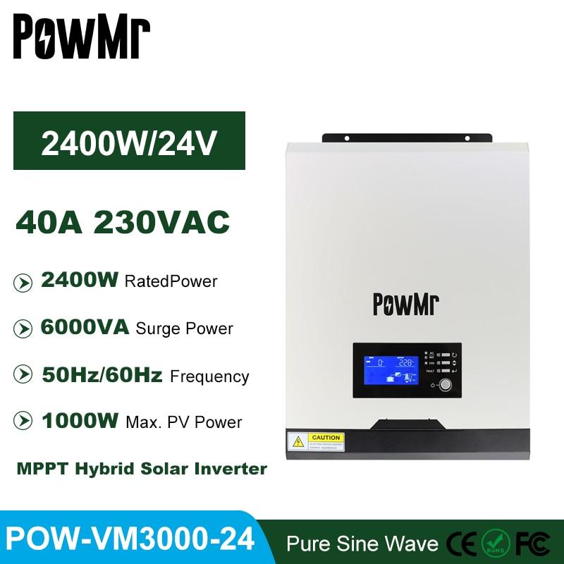 PowMr 40A MPPT خارج الشبكة العاكس 3KVA 2400 واط نقية شرط لموجة العاكس 24 فولت شاحن بطارية 50HZ/60HZ عاكس شمسي هجين
