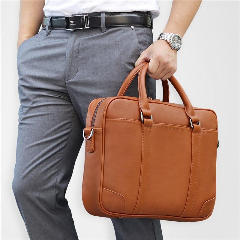 Black Brown Genuine Leather Office Men Briefcase Messenger Bags Real Skin Business Travel Bag 14'' Laptop Portfolio M7349