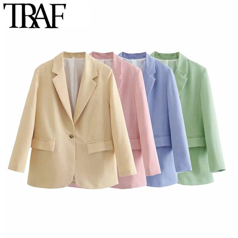 TRAF موضة النساء مكتب ارتداء زر واحد السترة معطف خمر كم طويل رفرف جيوب الإناث ملابس خارجية أنيقة فيست