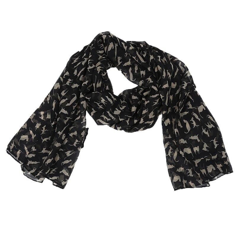 Bufanda negra de gasa con patrón de dulce gato para mujer