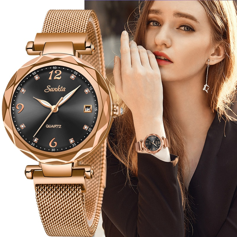 SUNKTA Luxury Women Watches Magnetic Female Clock Quartz Wristwatch Fashion Ladies Watch Women reloj mujer relogio feminino +Box enlarge