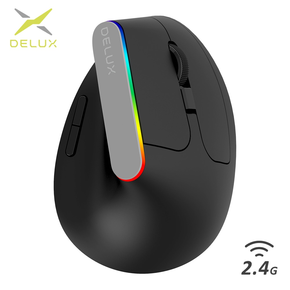 AliExpress - Delux M618C Wireless Mouse Ergonomic Vertical 6 Buttons Gaming Mouse RGB 1600 DPI Optical Mice With For PC Laptop