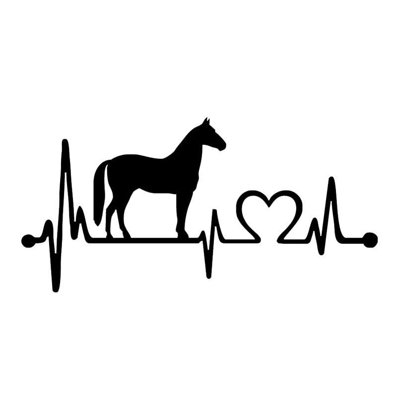 Persönlichkeit Auto Aufkleber Mode Pferd Herzschlag Auto Fenster Zubehör Abdeckung Kratzer Reflektierende PVC 16cm X 8cm