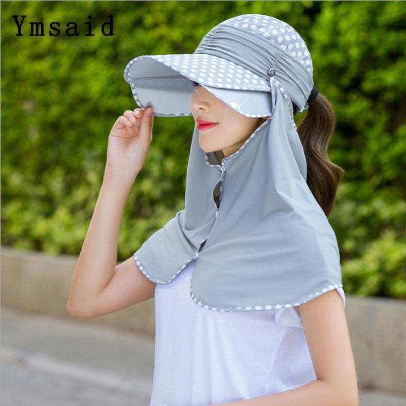 2020 New Sun Hats For Women Summer Multifunctional Pull  Visor Hat Wide Brim Beach Hat omnibearing UV Protection Female Caps
