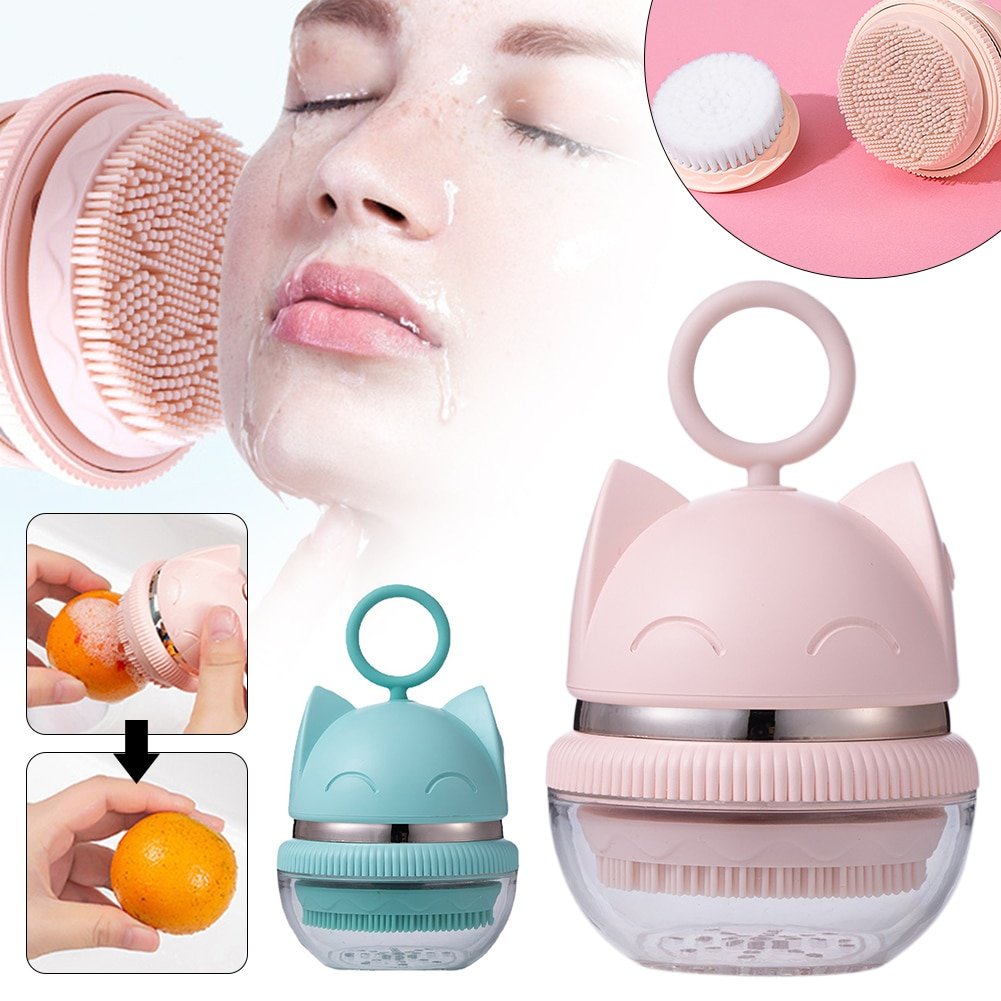 Electric Facial Cleansing Brush Sonic Vibrating Cute cat Face Brush with 2 Brush Heads 3 Modes Facial Massage Skin Care