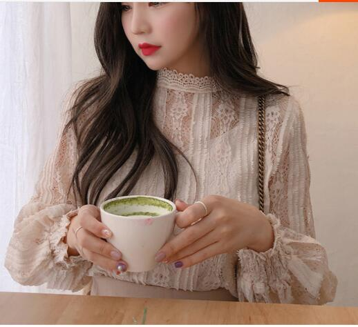 crochet insert hollow out top Puff Sleeve Shirt Hollow Out Lace Blouse Elegant Lady Crochet Women Top Sheer Vintage Chemise Femme Chemisier Renda Blusa Mujer