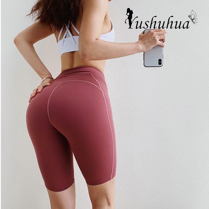 Pantalones cortos deportivos para Leggings elásticos de mujer, pantalones cortos de Yoga con cintura alta y elevación de cadera, pantalones cortos ajustados de secado rápido para fitness, pantalones cortos para correr y ciclismo